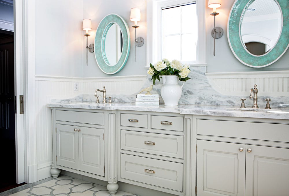 bathroom remodel light double vanity, accent mirrors