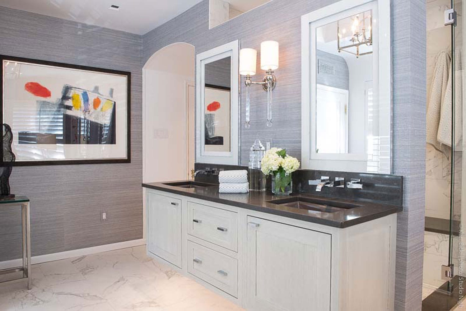 bathroom remodel white cabinets, dark countertops, contemporary