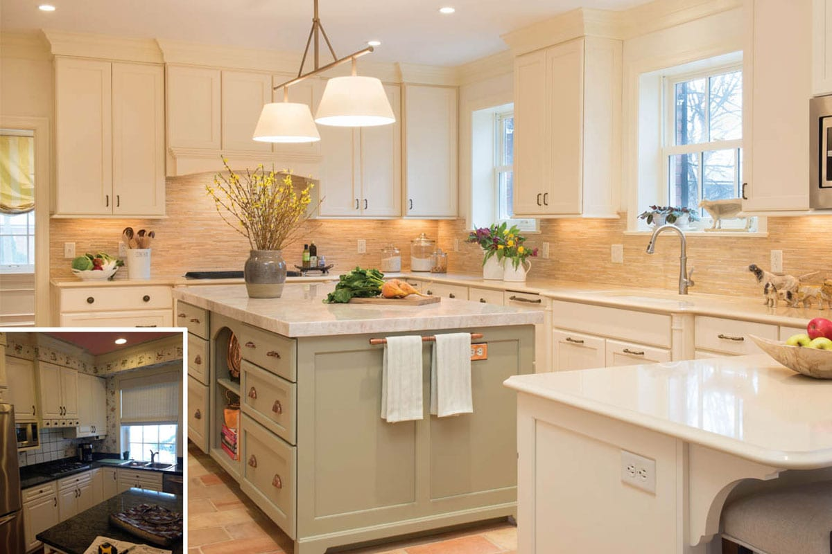 kitchen before and after white cabinets, island, contemporary