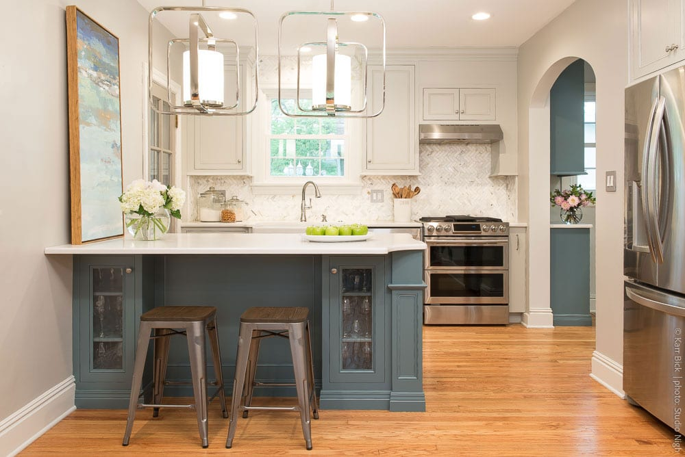 Elegant Small Kitchen Remodel, Blue Island Cabinets, Wood Floors, Stainless  Appliances Amazing Design