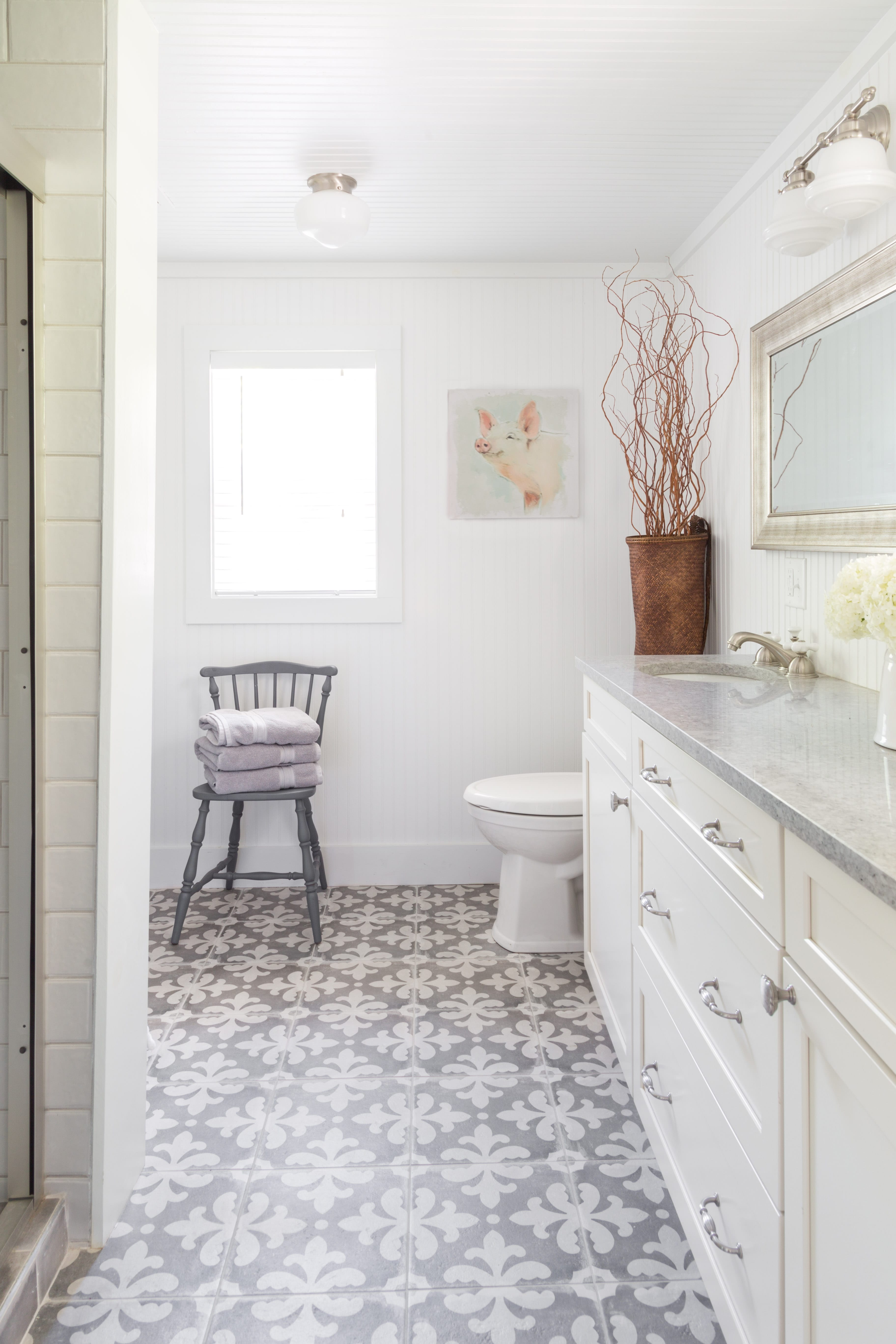 patterned tile bathroom floor